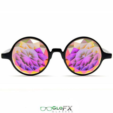 GloFX Black Kaleidoscope Glasses – Rainbow Fractal – Flat Back - Rave Galore