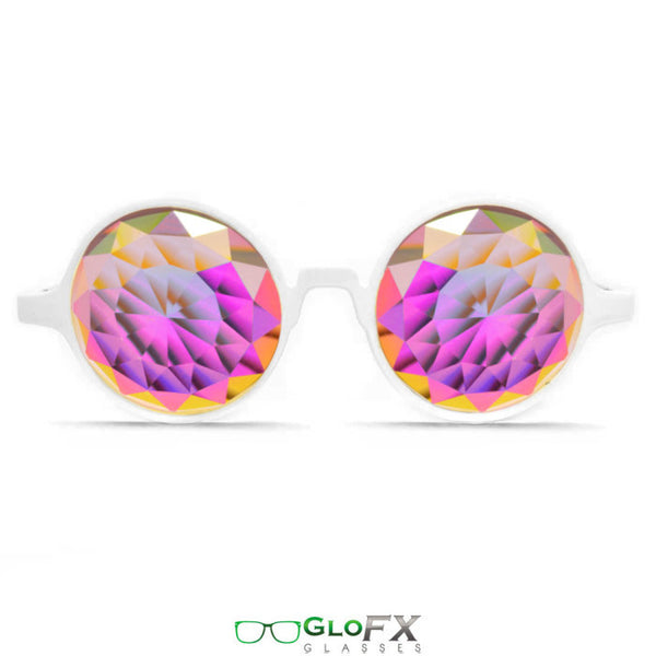 GloFX White Kaleidoscope Glasses – Rainbow Fractal – Flat Back - Rave Galore