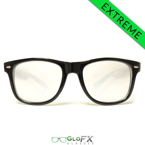 GloFX Ultimate EXTREME Diffraction Glasses – Black - Rave Galore