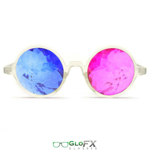GloFX Clear 3D Kaleidoscope Glasses- Sapphire & Magenta - Rave Galore
