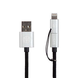 MFI 蘋果認證 Lightning & Micro USB To USB 傳輸充電線(銀) - HOMI CREATIONS - LCW Fashion Ltd.