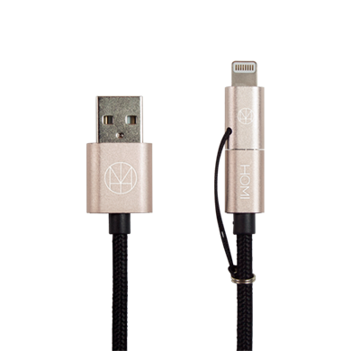 MFI 蘋果認證 Lightning & Micro USB To USB 傳輸充電線(香檳金) - HOMI CREATIONS - LCW Fashion Ltd.