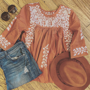 Longhorn Burnt Orange Saturday Blouse