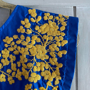 Blue & Gold Butterfly Blouse