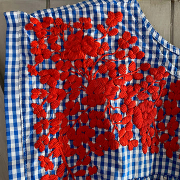 Red, White, & Blue Gingham Butterfly Blouse