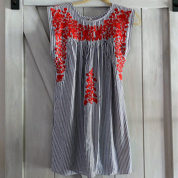 Red, White & Blue Ticking Butterfly Dress