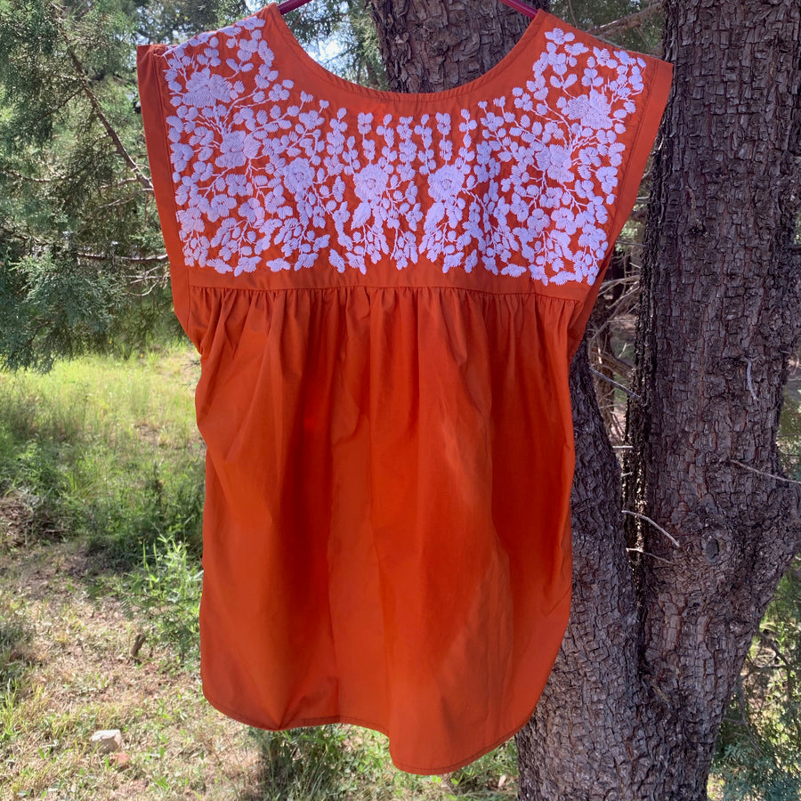 Longhorn Burnt Orange Butterfly Blouse