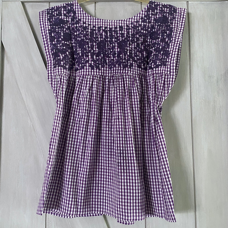 TCU Gingham Butterfly Blouse
