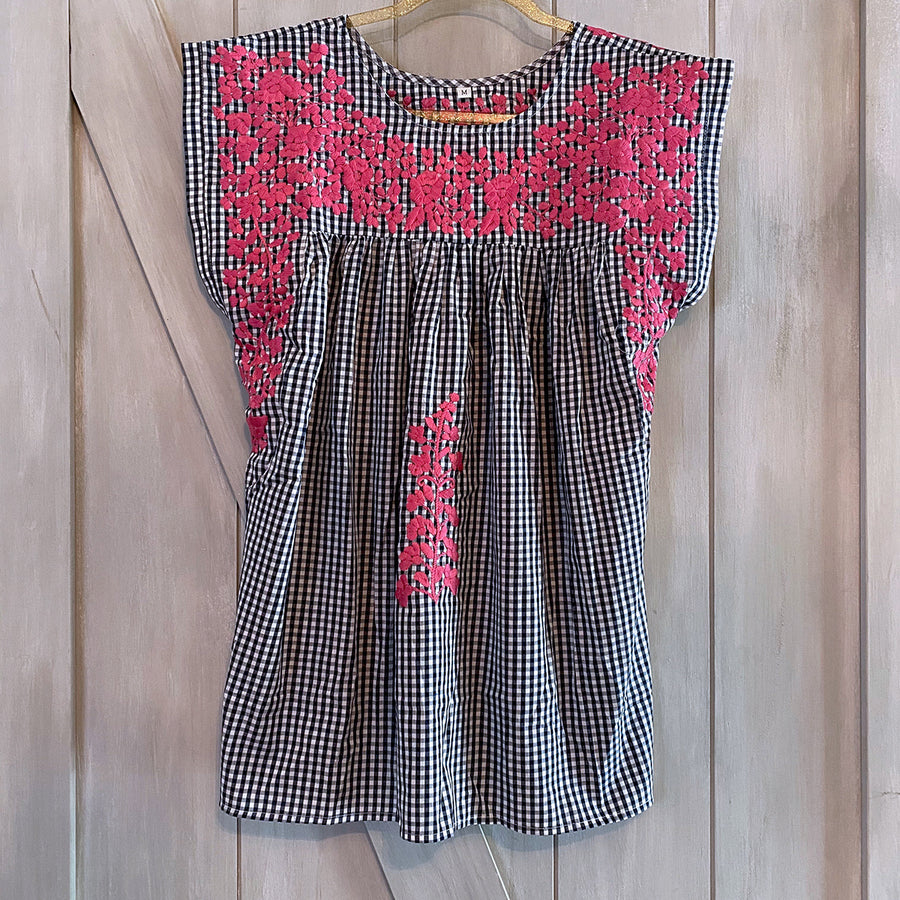Navy Gingham/Pink Butterfly Blouse (Limited Edition)