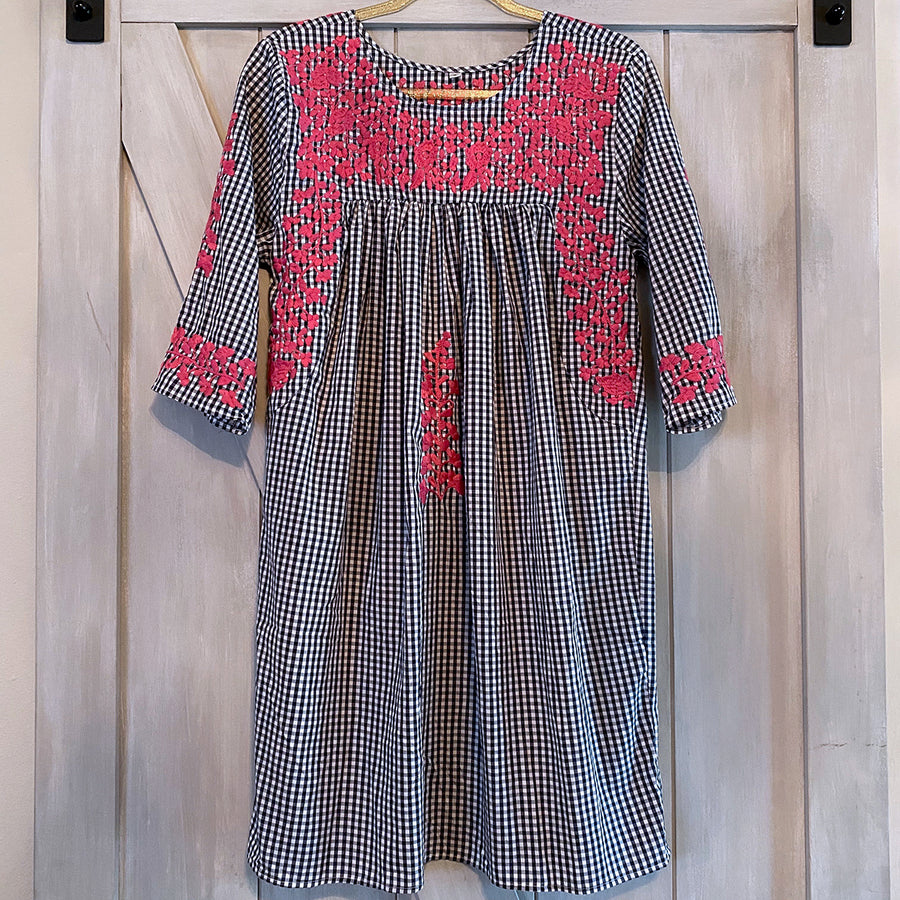 Navy Gingham/Pink Saturday Dress (Limited Edition)