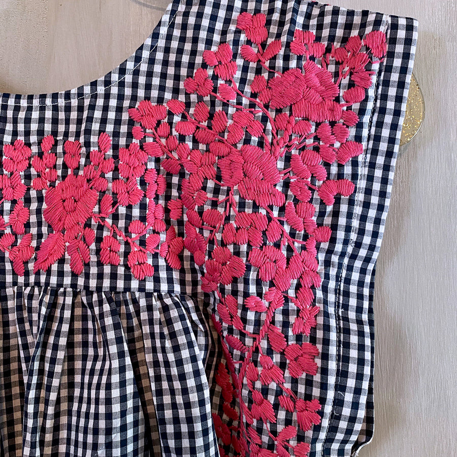 Navy Gingham/Pink Butterfly Dress (Limited Edition)