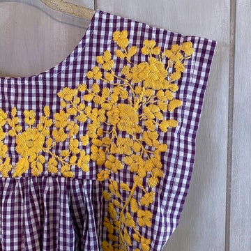 LSU Purple Gingham/Gold Butterfly Blouse (Limited Edition)