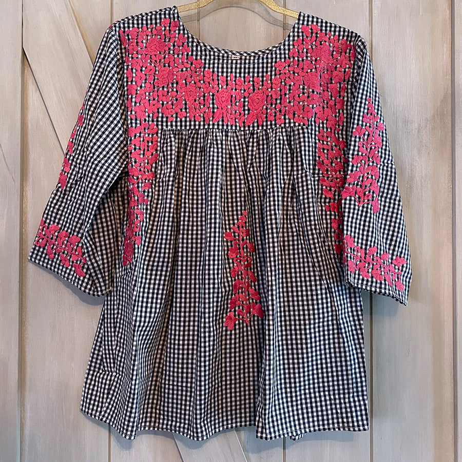 Navy Gingham/Pink Saturday Blouse (Limited Edition)