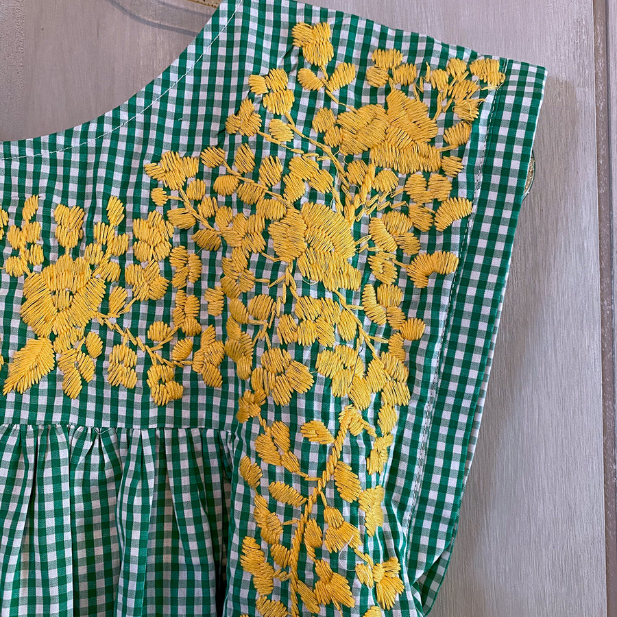 Baylor Green Gingham/Gold Butterfly Blouse (Limited Edition)