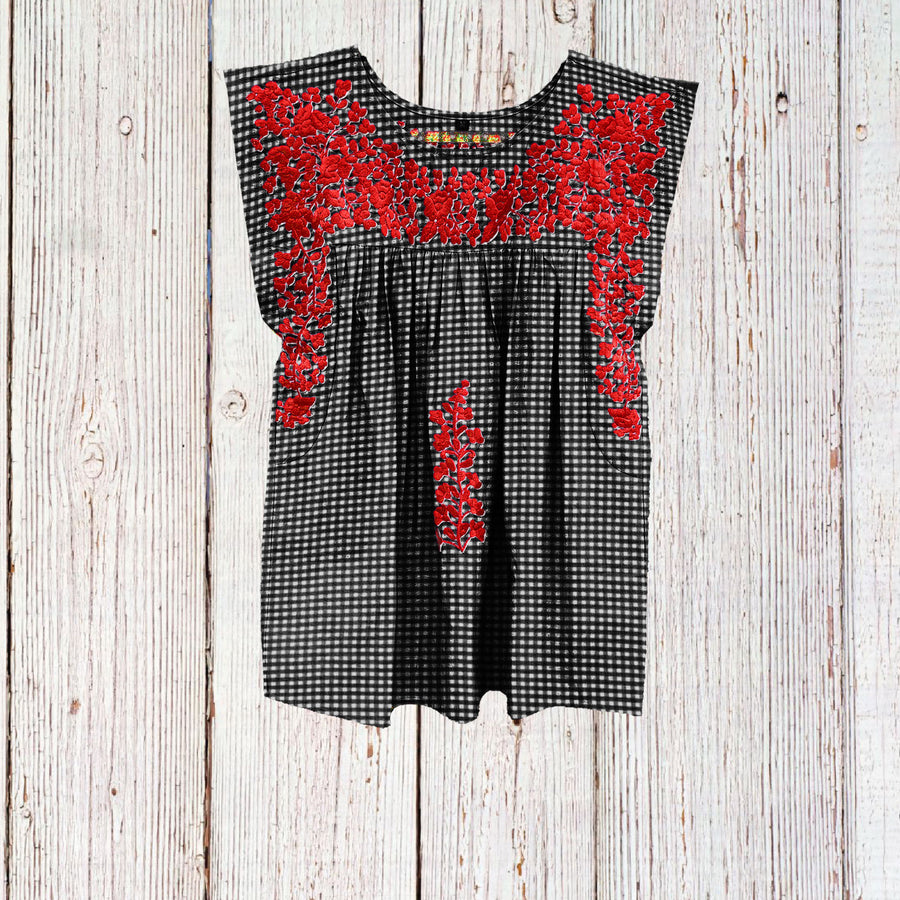 PRE-ORDER: Texas Tech Gingham Butterfly Blouse (July Delivery)