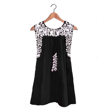 PRE-ORDER: Black & White Sleeveless Dress in Summer Cotton (JUNE DELIVERY)