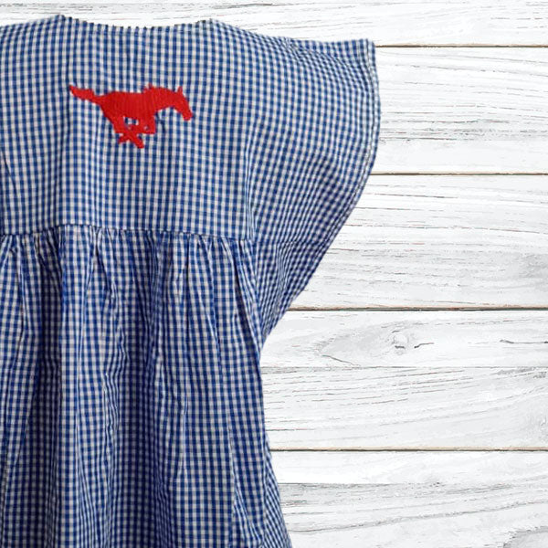 SMU Red, White, & Blue Gingham Butterfly Blouse (Mustang Logo)