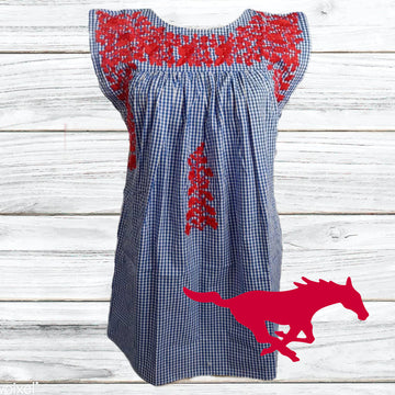 SMU Red, White & Blue Gingham Butterfly Dress (Mustang Logo)