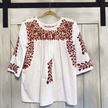 Longhorn White Saturday Blouse