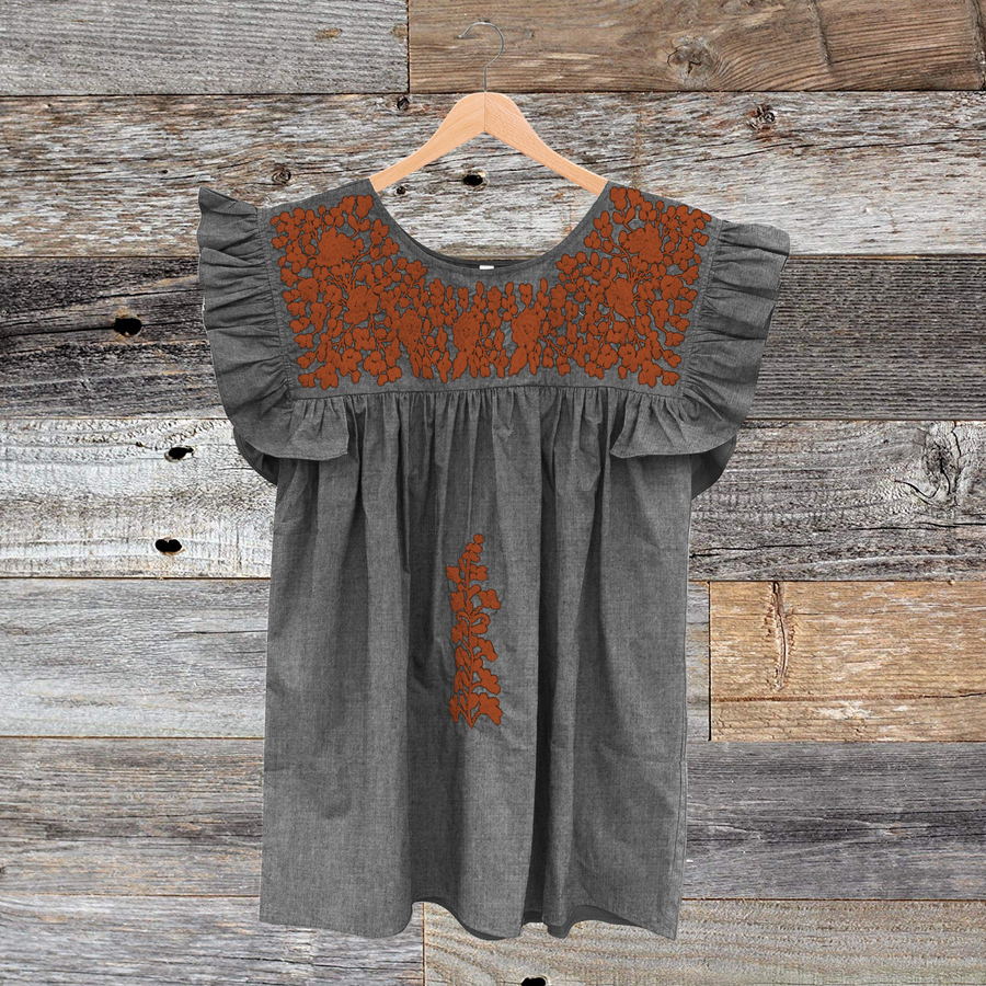 Longhorn Gray Chambray Angel Blouse