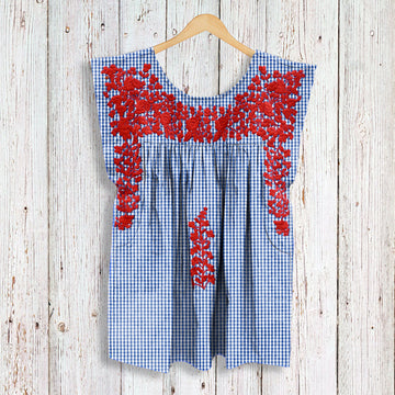 PRE-ORDER: Red, White, & Blue Gingham Butterfly Blouse (July Delivery)