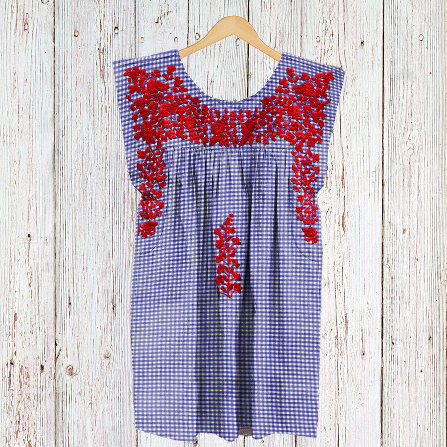 PRE-ORDER: Red, White, & Blue Gingham Butterfly Dress (June Delivery)