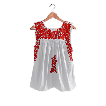 PRE-ORDER: White & Red Sleeveless Blouse in Summer Cotton (JUNE DELIVERY)