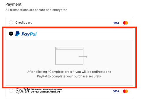 Select Checkout with PayPal