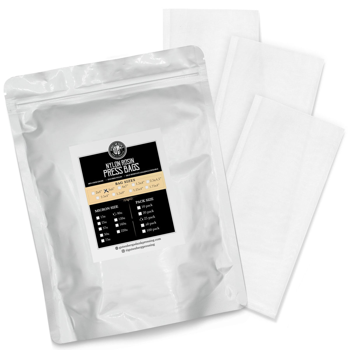 "Gutenbergs Dank Pressing Co Gutenberg's Dank Pressing Co 3"" x 6"" Rosin Bags-25 Pack"