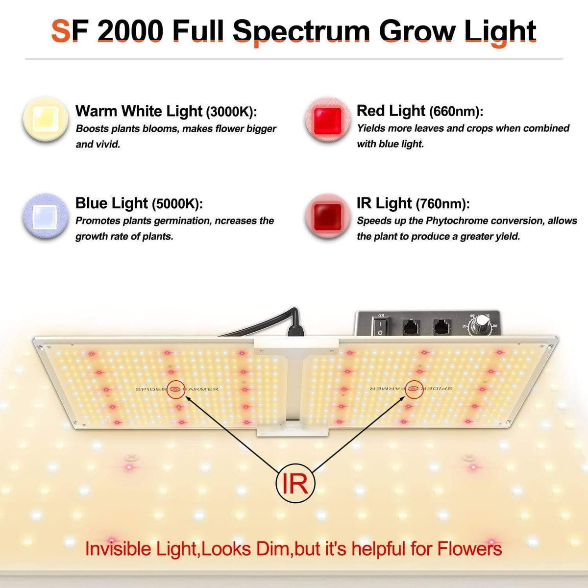 Spider Farmer Spider Farmer SF2000 Dimmable Full Spectrum LED Grow Light