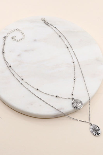 Cross and Saint Charm Necklace [silver]