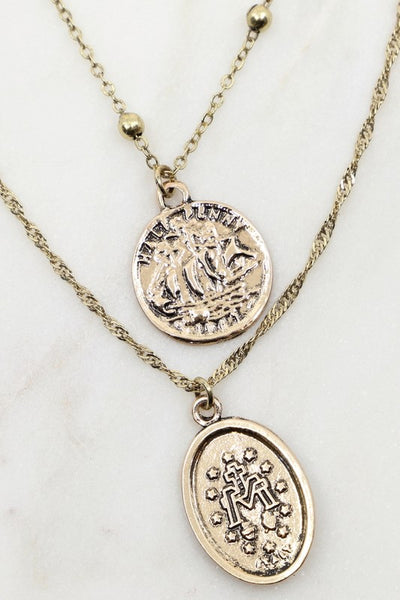Cross and Saint Charm Necklace [gold]