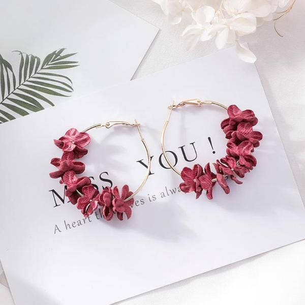 Ruby Pink Cotton Flower Hoop Earrings