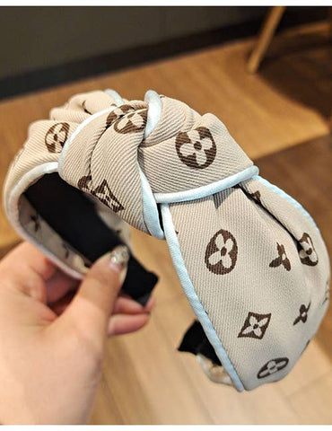 Beige Letter Printed Knot Cotton Headband