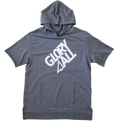 G1 Short Sleeve Hoodie - Heather Gray / White