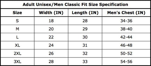 Adult Unisex Men Classic Fit Size Specifications