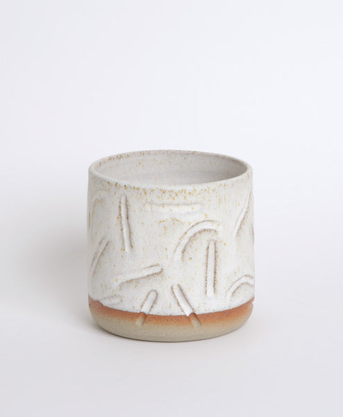 White Carve Pot