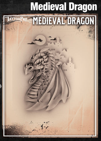 MEDIEVAL DRAGON - Tattoo Pro Stencils