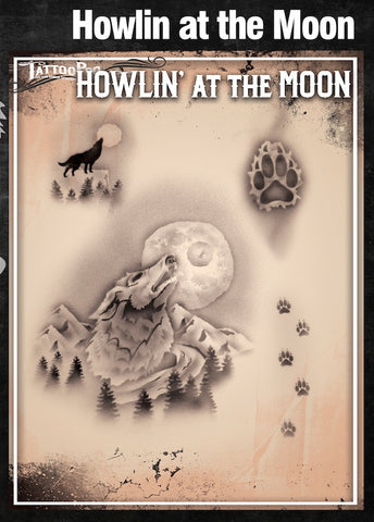 HOWLIN' AT THE MOON - Tattoo Pro Stencils