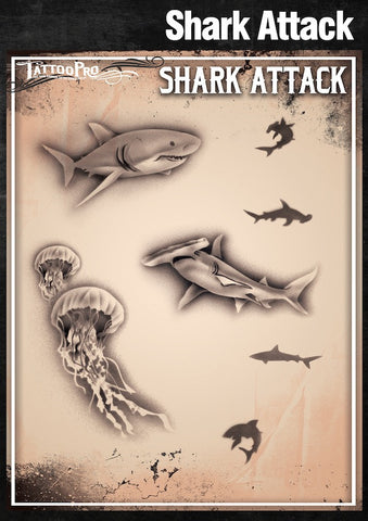 SHARK ATTACK - Tattoo Pro Stencils