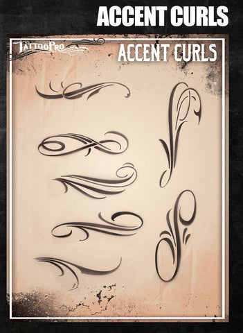 Accent Curls - Tattoo Pro Stencils