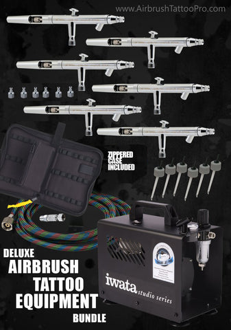 DELUXE AIRBRUSH EQUIPMENT BUNDLE - Tattoo Pro Stencils