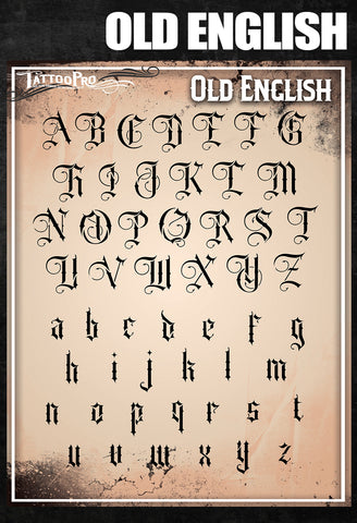 Old English Font - Tattoo Pro Stencils