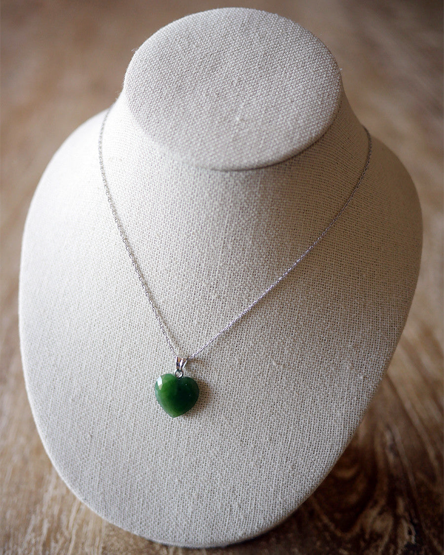 Jade Heart Charm with Sterling Silver Chain