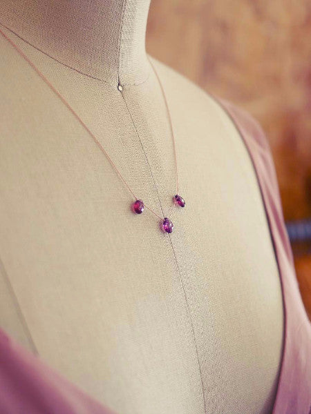 Rose Sapphire Trinity Crystal Silk Illusion Necklace by Elise Peters