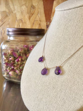 Amethyst Crystal and Pyrite Silk Illusion Necklace by Elise Peters