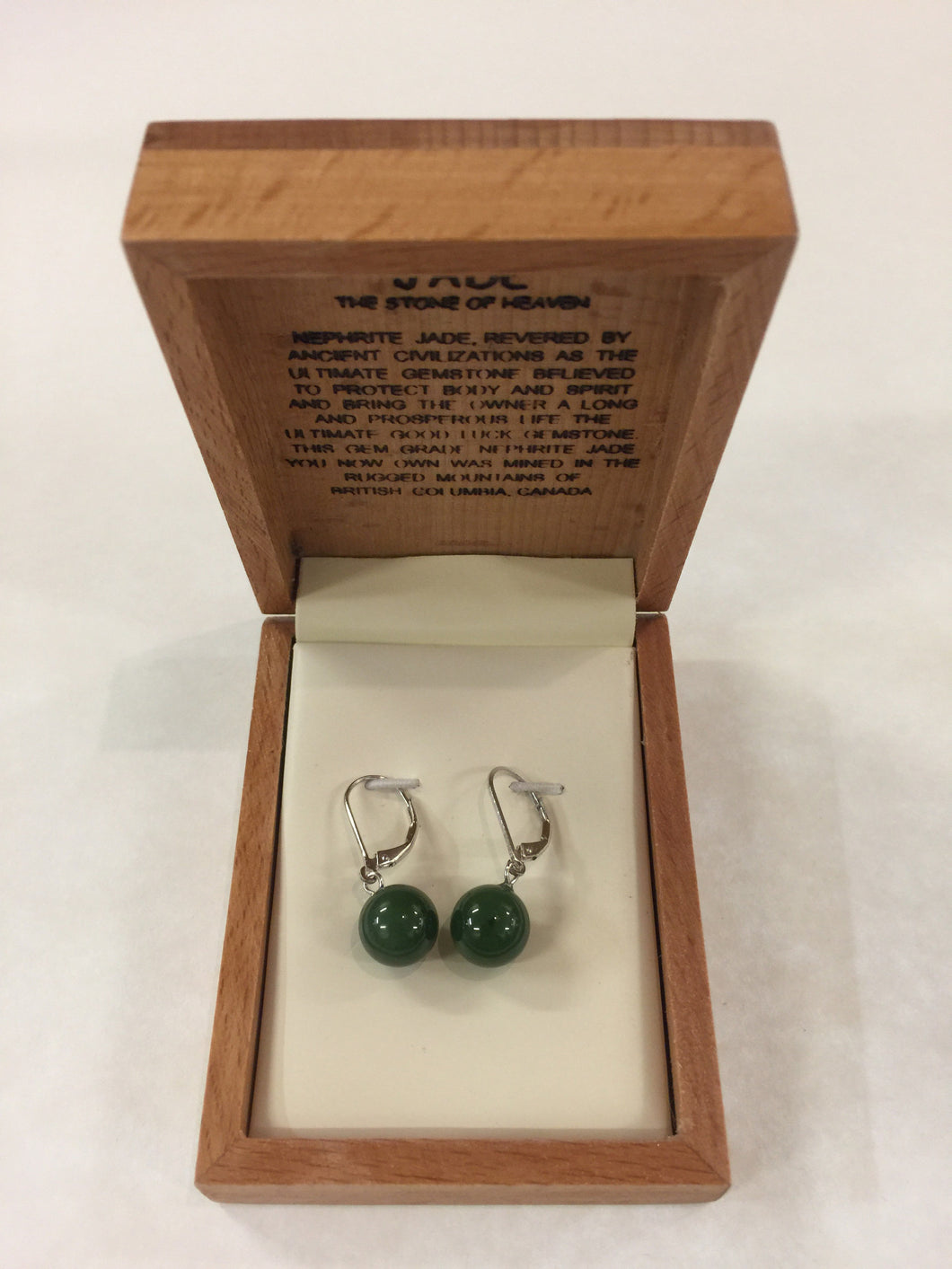 Jade Ball Drop Clasp Earring