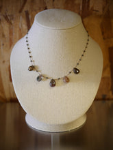 Earth Toned Tourmaline Crystals and Pyrite Silk Illusion Necklace by Elise Peters