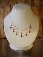 Tongo Sapphire Crystal and Garnet Drop Dangle Silk Illusion Necklace by Elise Peters
