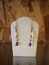 Amethyst Crystal Pearl Dangle Earrings by Elise Peters